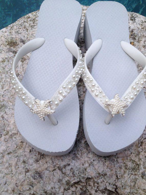 9afad5395c905 Wedding Flip Flops Wedges Sandals for Bride Bridesmaids.White Bridal ...