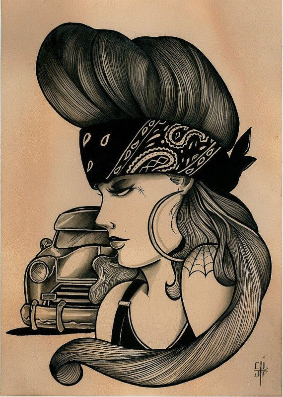 Chola Girl Drawing : chola, drawing, Mejicano