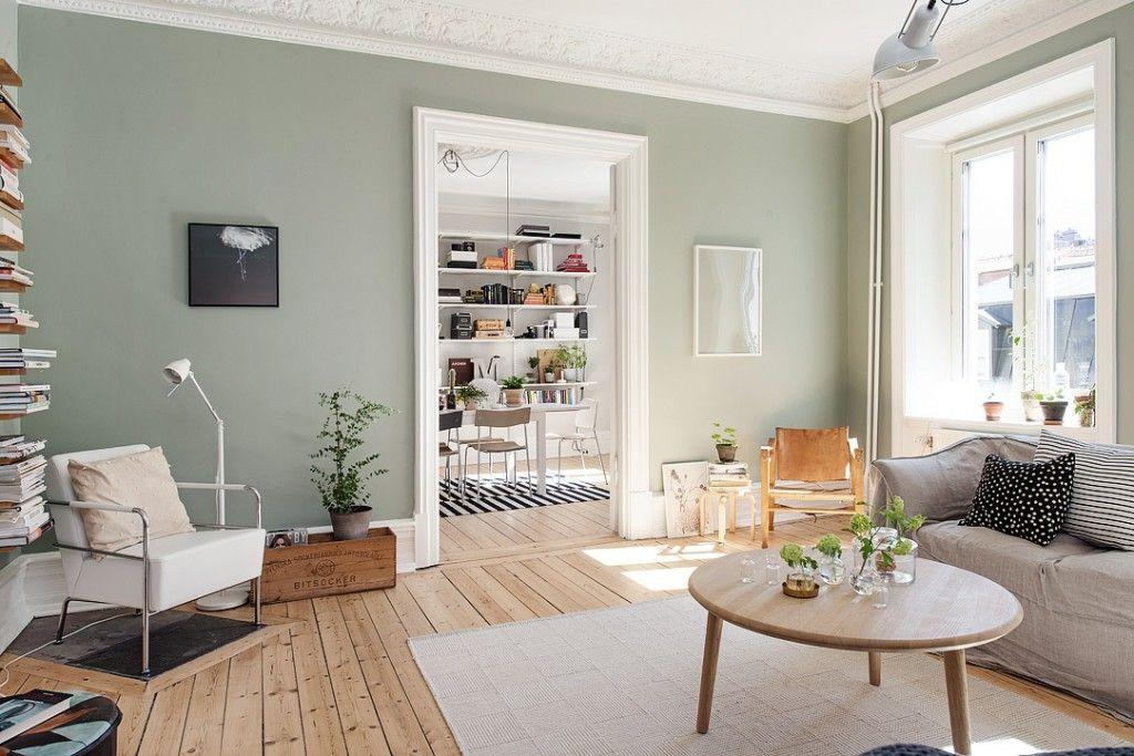 Grijze muren home in scandinavisch huis woonkamer muren