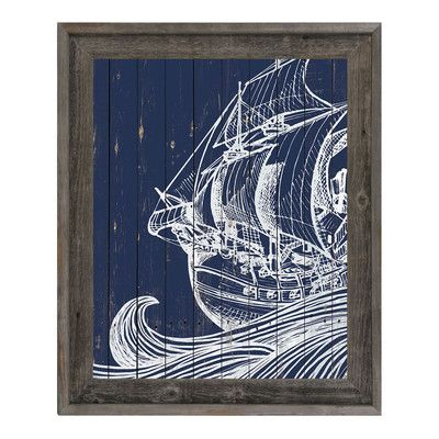 """Click Wall Art Rustic Waves and Boat Framed Graphic Art on Canvas Size: 33.5"""" H x 23.5"""" W x 1"""" D"""