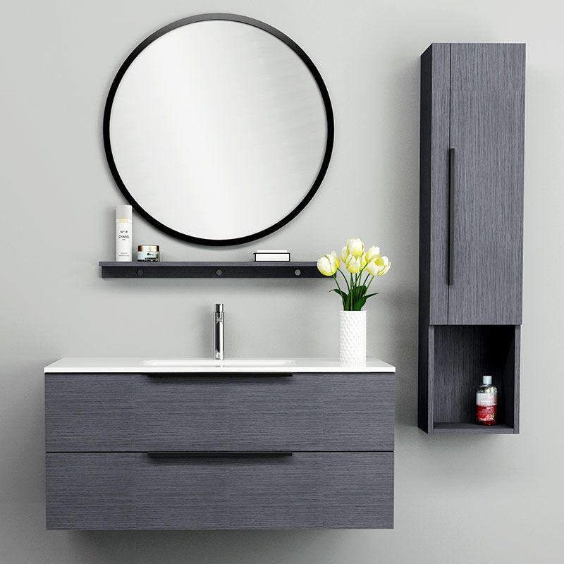 Ensemble Meuble Vasque 110 Cm Colonne Miroir Et Tablette Chene Gris Meuble Salledebain Bathroom Homedesig Meuble Vasque Salle De Bain Meuble Sous Lavabo