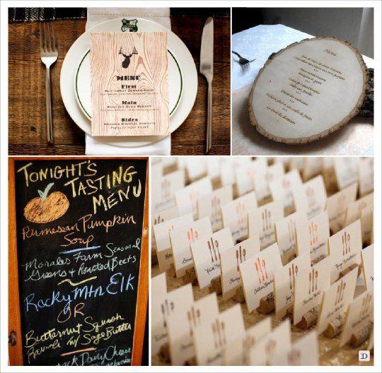 Mariage automne menu carte faux bois tableau bouchon de for Mariage theme bois flotte