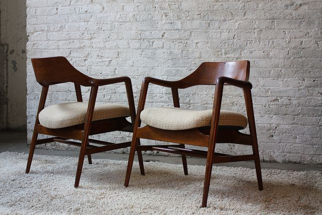 Just Bought Something Very Similar At Red Door Consignment Gallery: Smoking  Pair Of Solid Walnut Mid Century Modern Gunlocke Arm Chairs (1960u0027s) By  Kinzco, ...