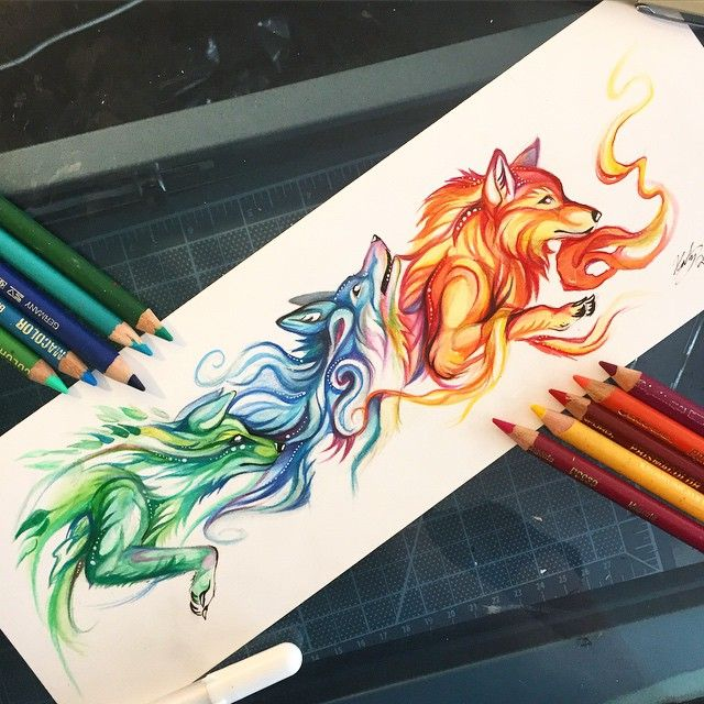 125- Elemental This one is a bookmark design featuring some fun elemental spirit canines emoji️ I'm starting to get ready for MomoCon (the 28th-31st of May) in Atlanta, GA! Bookmarks available on storenvy(link in bio) #art #drawing #wolf #fox