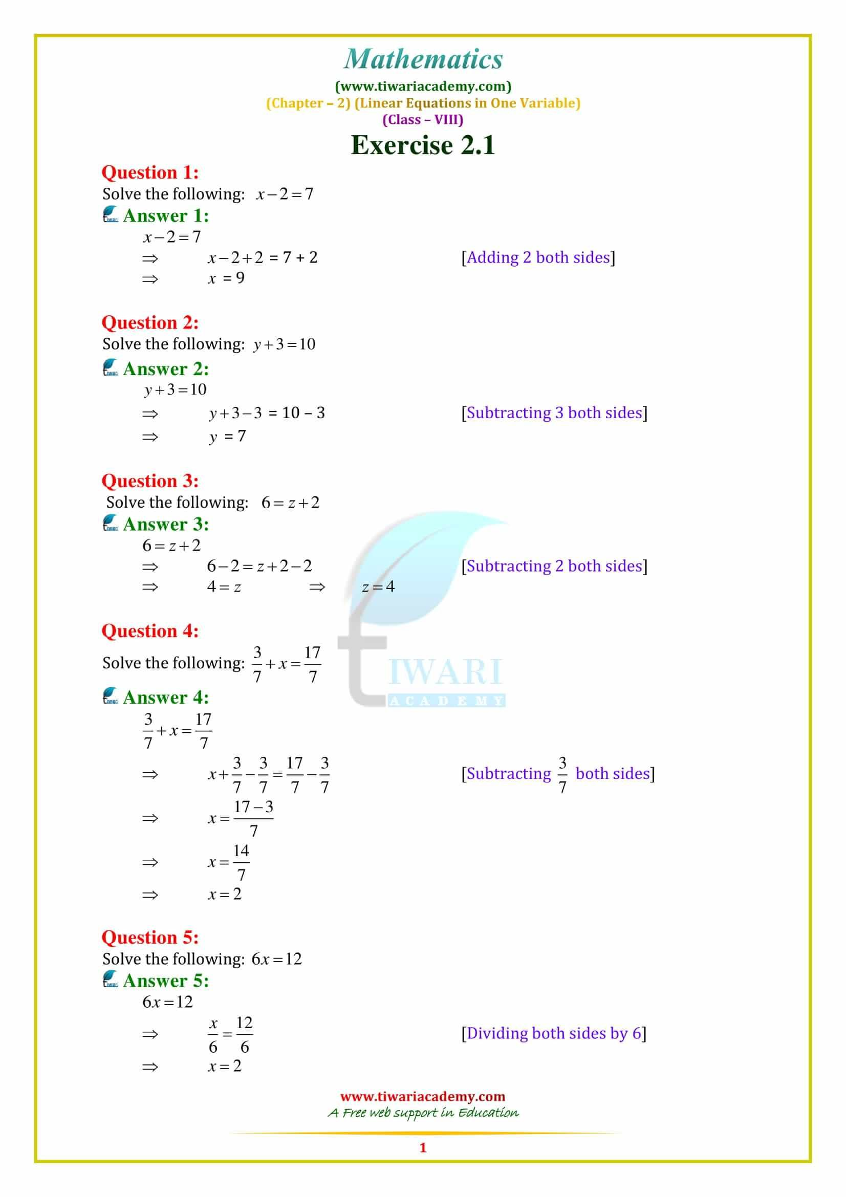 Ncert Solutions For Class 8 Maths Chapter 2 In For