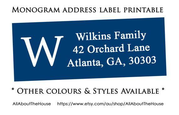 items similar to monogram address label printable return address sticker avery 5160 compatible personalised custom diy printable digital on