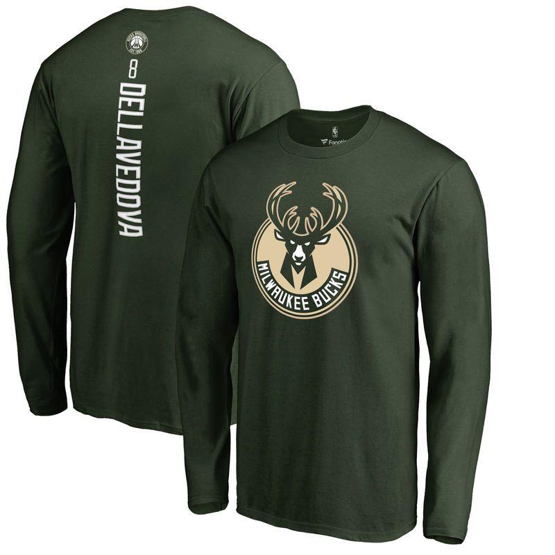Matthew Dellavedova Milwaukee Bucks Backer Long Sleeve T-Shirt - Green