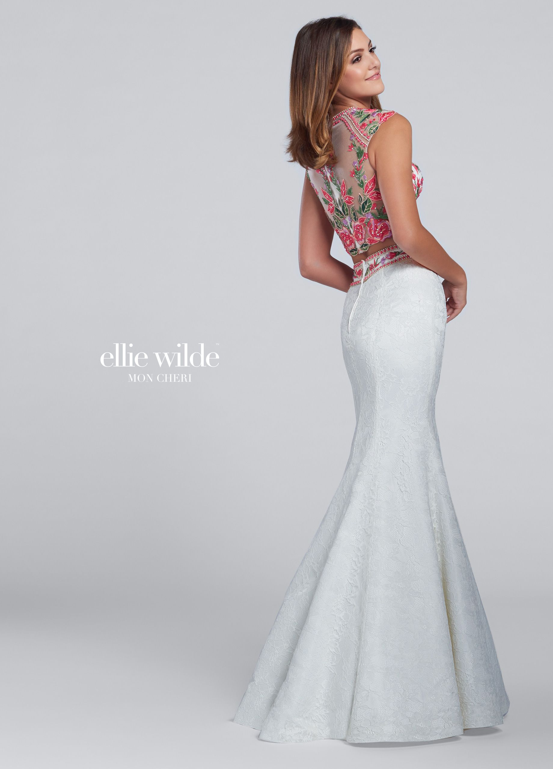 Ellie Wilde EW117030 - Two-piece lace dress set, cap sleeve illusion and floral embroidered appliquéd cropped top with jewel neckline and sheer back, lace overlay mermaid skirt with high waist embroidery.