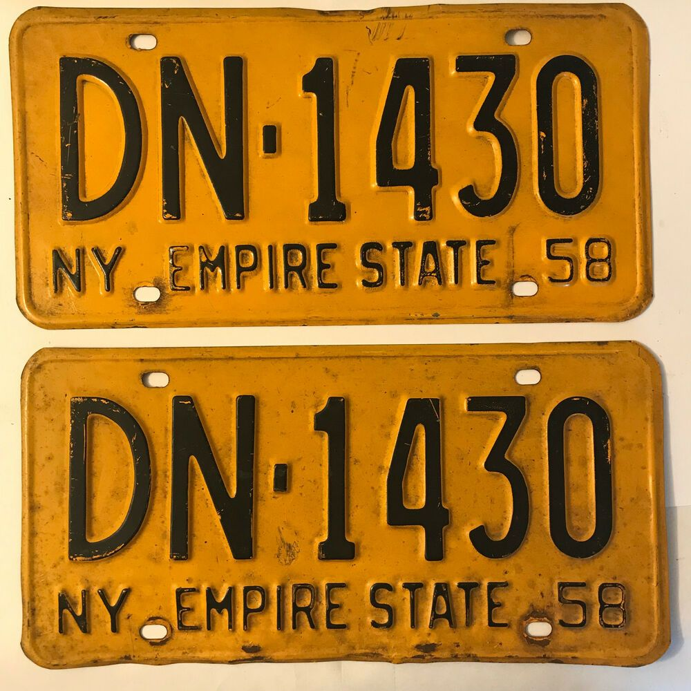 1958 New York Ny License Plate Pair Dn1430 License Plates For