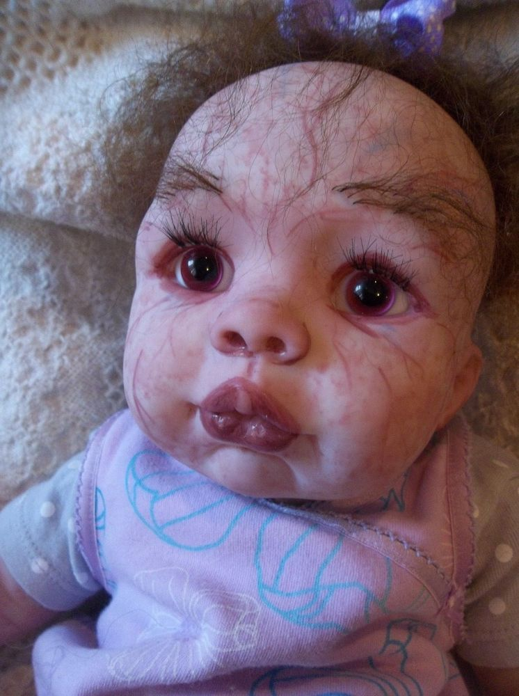 Reborn Zombie Z Horror Baby Doll Girl Red Eyes Unique