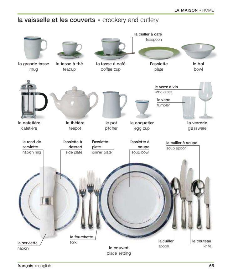 vocabulaire de la vaisselle et les couverts en #français ...