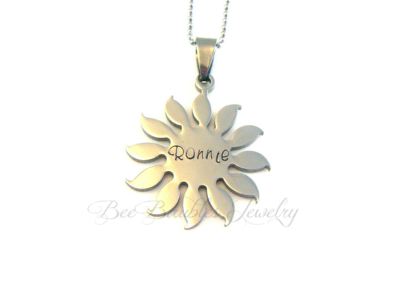 Hand Stamped Sun Necklace - Sun jewelry - Personalized Jewelry - Beach Jewelry. $25.00, via Etsy.