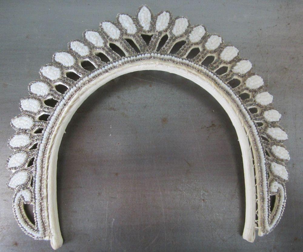 Vintage 1920s Hand Beaded Tiara Wedding Headband Flapper Style #tiara