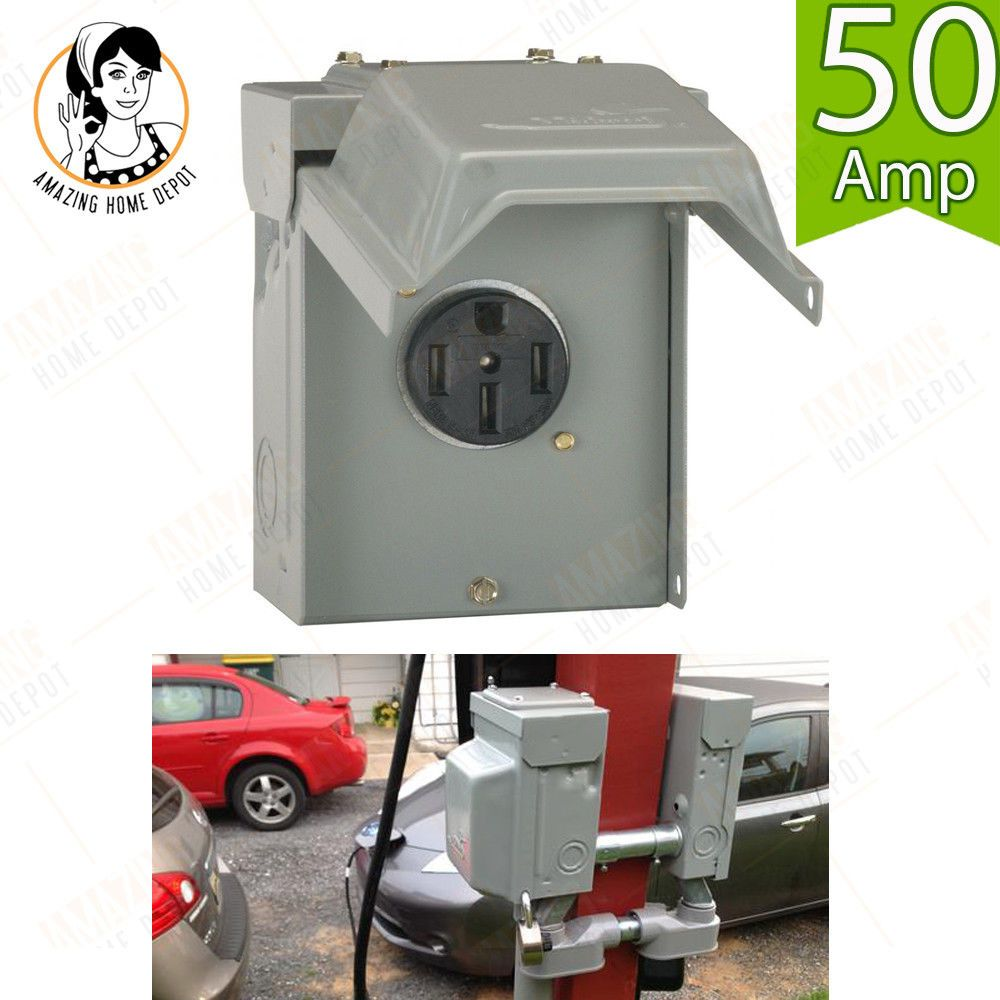 AUTO CAR RV POWER OUTLET BOX Panel Outdoor 50 Amp Motor ...  Amp Electrical Panel on