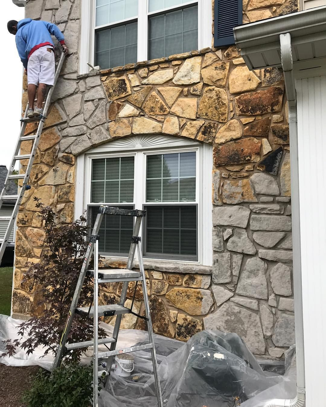Workinprogress Limewash Stone Curbappeal Stone Exterior Houses House Paint Exterior Home Exterior Makeover