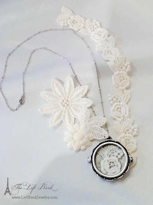 Lace Locket Necklace to hold a heirloom piece of veil or a touch of lace