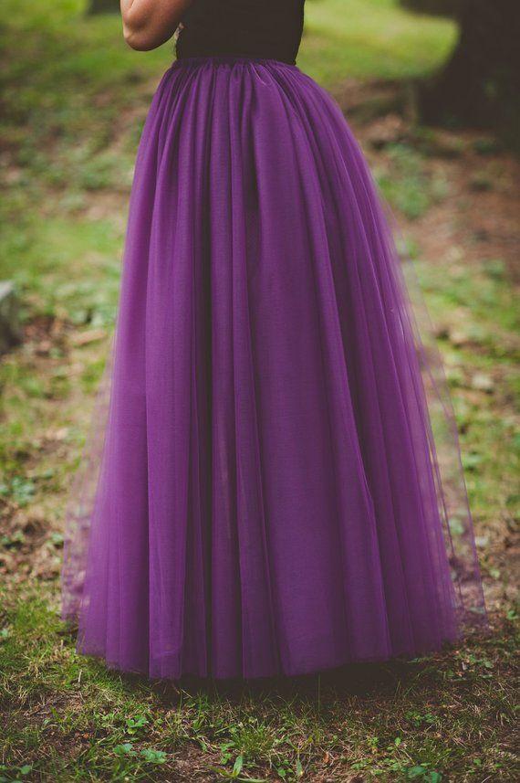 c9f744d973 Floor length tulle skirt- bridesmaid skirt, eggplant, long tulle skirt,  purple any color