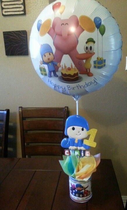 Centro de mesa pocoyo con globo Fiesta tematica pocoyo Pinterest