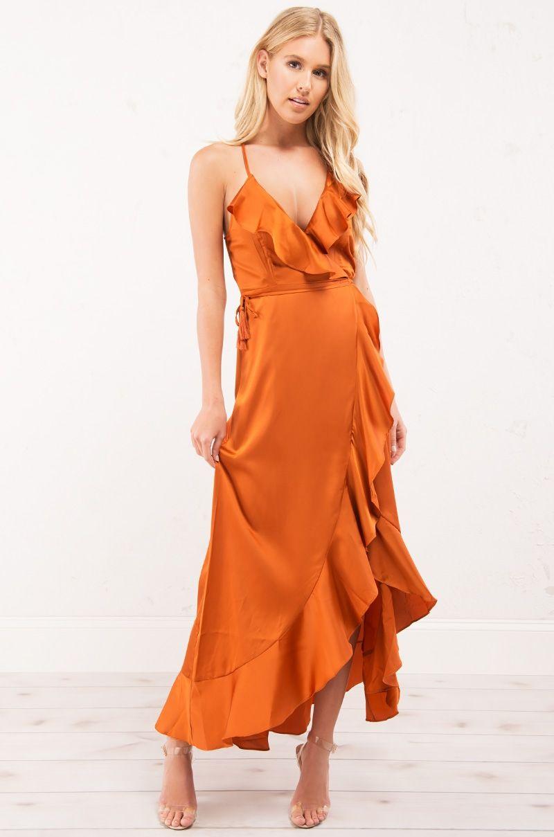 0de95aaeac63 Sexy Silk Deep V Wrap Midi Dress with Ruffle Trim in Burnt Orange ...