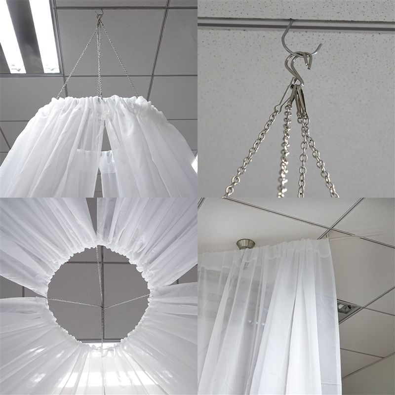 20ft White Ceiling Drapes Sheer Curtain Panels Fire Retardant