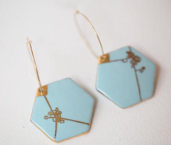 Blauwe Dijle. Porselein Limoges blauwe en Gouden door Gouttedeterre