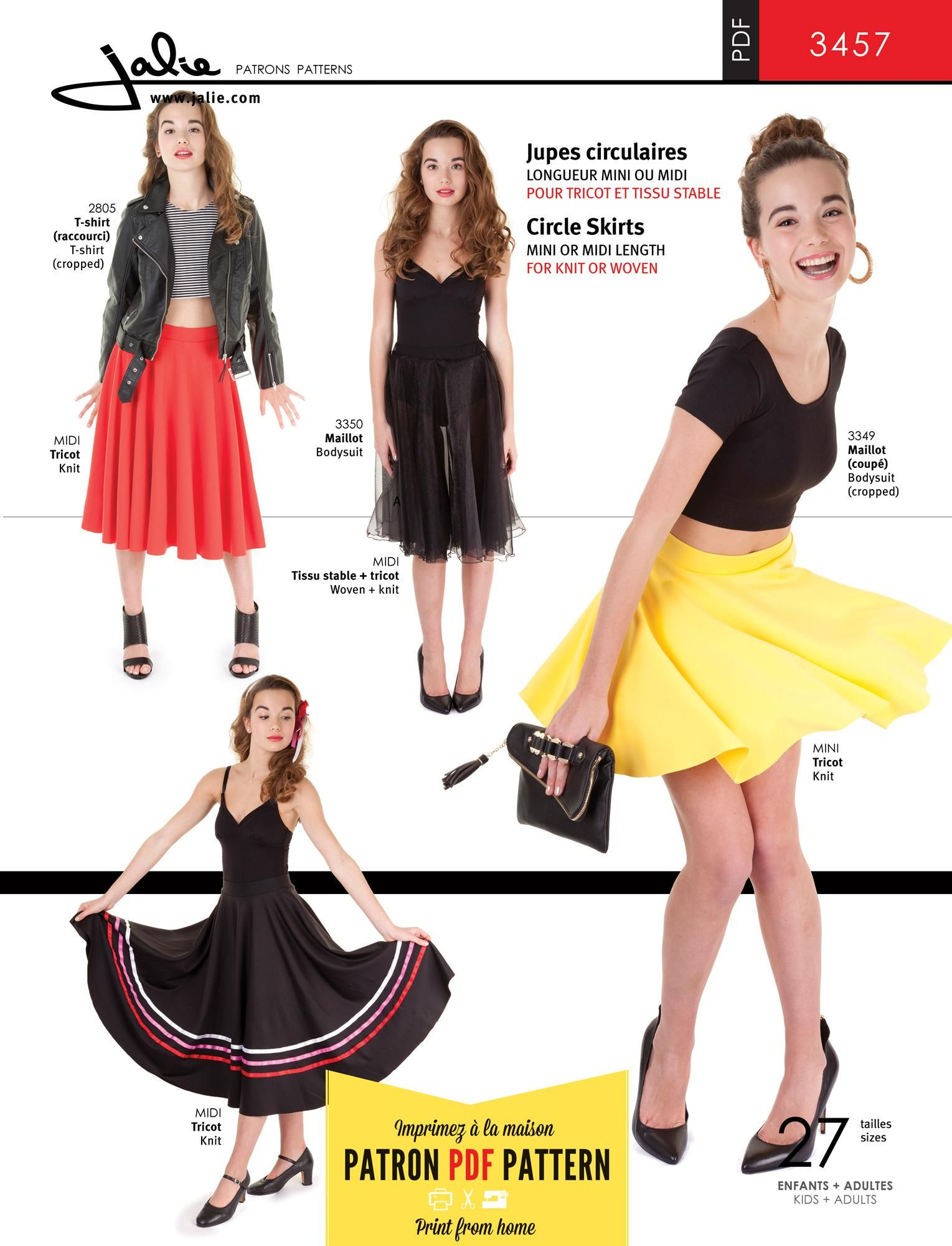 3457 - Circle Skirt PDF Pattern by Jalie | DANCE DIY | Pinterest ...