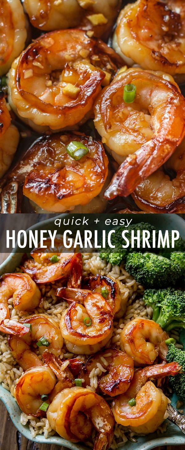 Easy, healthy, and on the table in about 20 minutes! Honey garlic shrimp recipe on sallysbakingaddiction.com #shrimprecipes