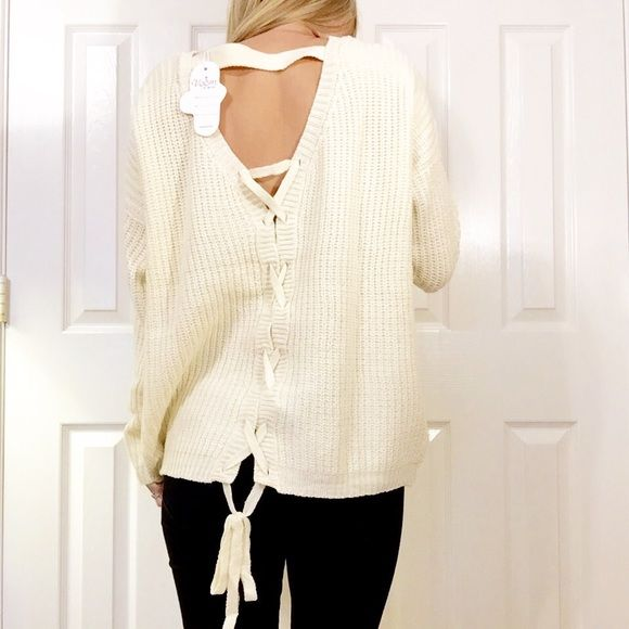 • Cream Chunky Sweater • My favorite chunky sweater! Features: cream sweater with open back and criss cross. Runs true to size, I am wearing a medium so it can be oversized.  Please do not purchase this listing, comment size and I will make a new one  NO TRADES PRICE FIRM 15% BUNDLES Sweaters