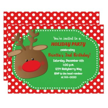 Christmas Holiday Reindeer Polka Dot Invitations - holiday card diy