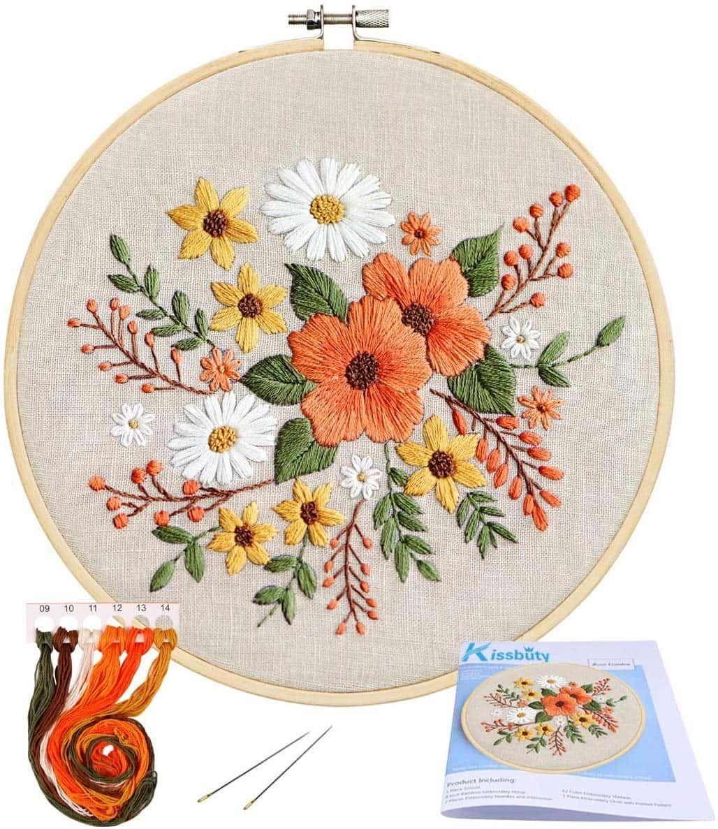Stamped needlepoint kit Bead embroidery kit Floral needlepoint Bead cross stitch kit Beginner bead embroidery Needlepoint kit floral