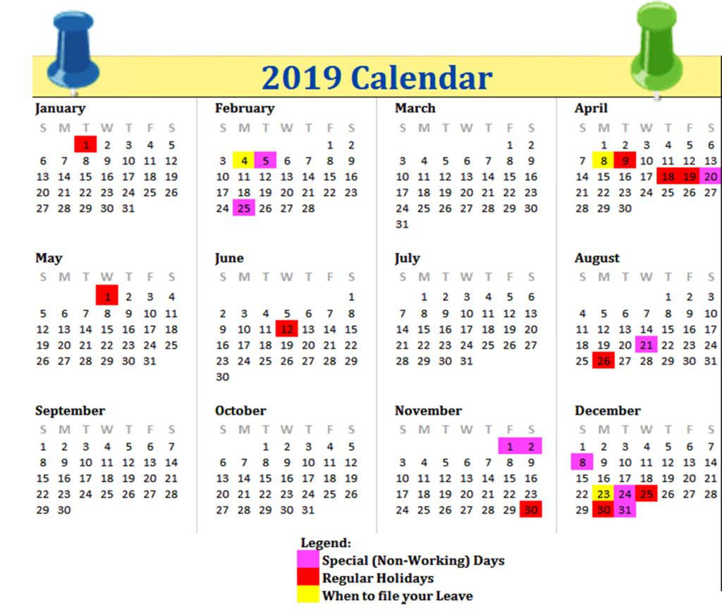 Philippines 2019 Printable Calendar 2019 Calendars Pinterest