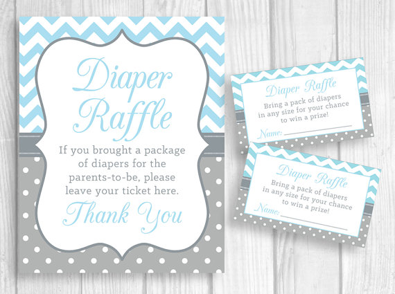 Diaper Raffle 5x7 or 8x10 Printable Baby Shower Sign and Sheet of