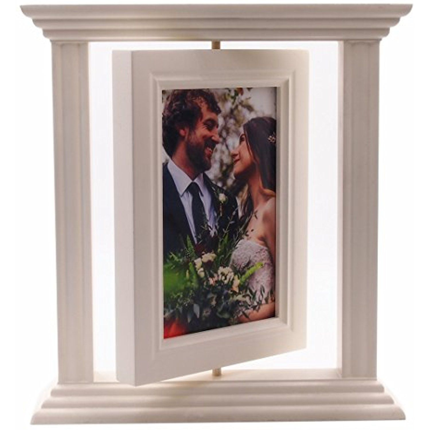 Yomee 2 Sided Rotatable White Picture Frame With Gl Front Solid Wood Double 4x6 Inch Roman Style Antiquated Stands Vertically Table Top Or