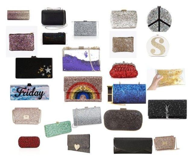 """Glitter clutches (1)"" by splotkin98aolcom on Polyvore featuring Edie Parker, Sondra Roberts, Lulu*s, J. Furmani, Alice + Olivia, Anya Hindmarch, Chicnova Fashion, Skinnydip, Deux Lux and Jimmy Choo"