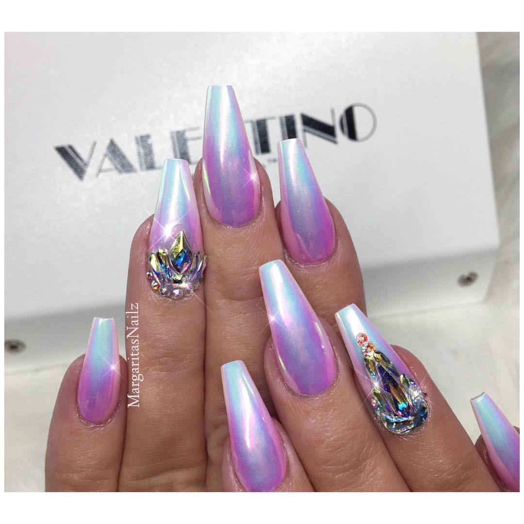 Lavender Ombre Unicorn Chrome Coffin Nails Lavender Nails Chrome Nails Ombre Nails Glitter