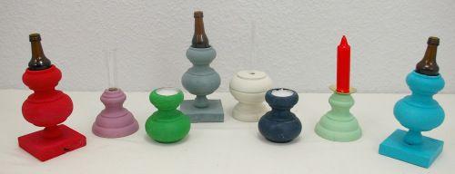 Upycycling Vasen und Kerzenständer, Upcycling aus Gardinenstangenstücken, Weiteres unter www.recyclingkunst.wordpress.com