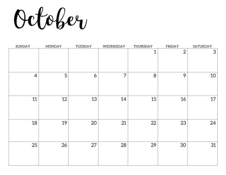 The Best Printable Free Printable Wall Blank October 2020 Calendar Printable Pdf Images