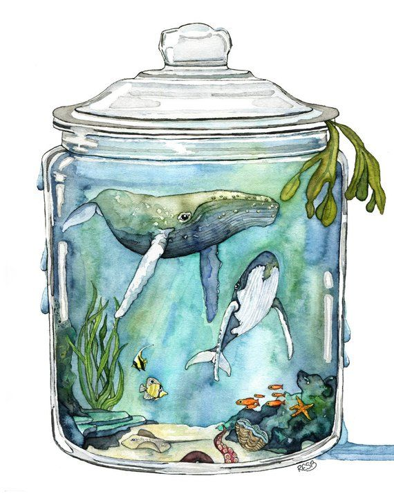 Wal-Malerei, Aquarell, Terrarium, Wal in Flasche, Wal Kunst, Aquarell Druck, Meer, Druck mit dem Titel The Sea, enthält #watercolorart