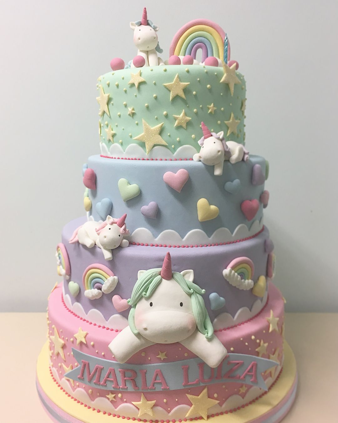 Pastel Hearts Stars Unicorn Cake Unicorn Birthday Cake Cake