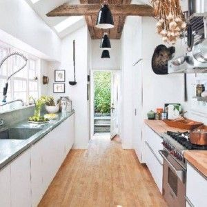 Small One Sided Galley Kitchen galley kitchens with hardwood floor and two sided cabinets with