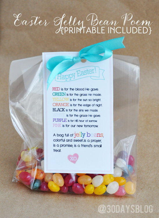Easter treat printable jelly beans poem and easter easter jelly bean poem with printable from thirtyhandmadedays negle Images
