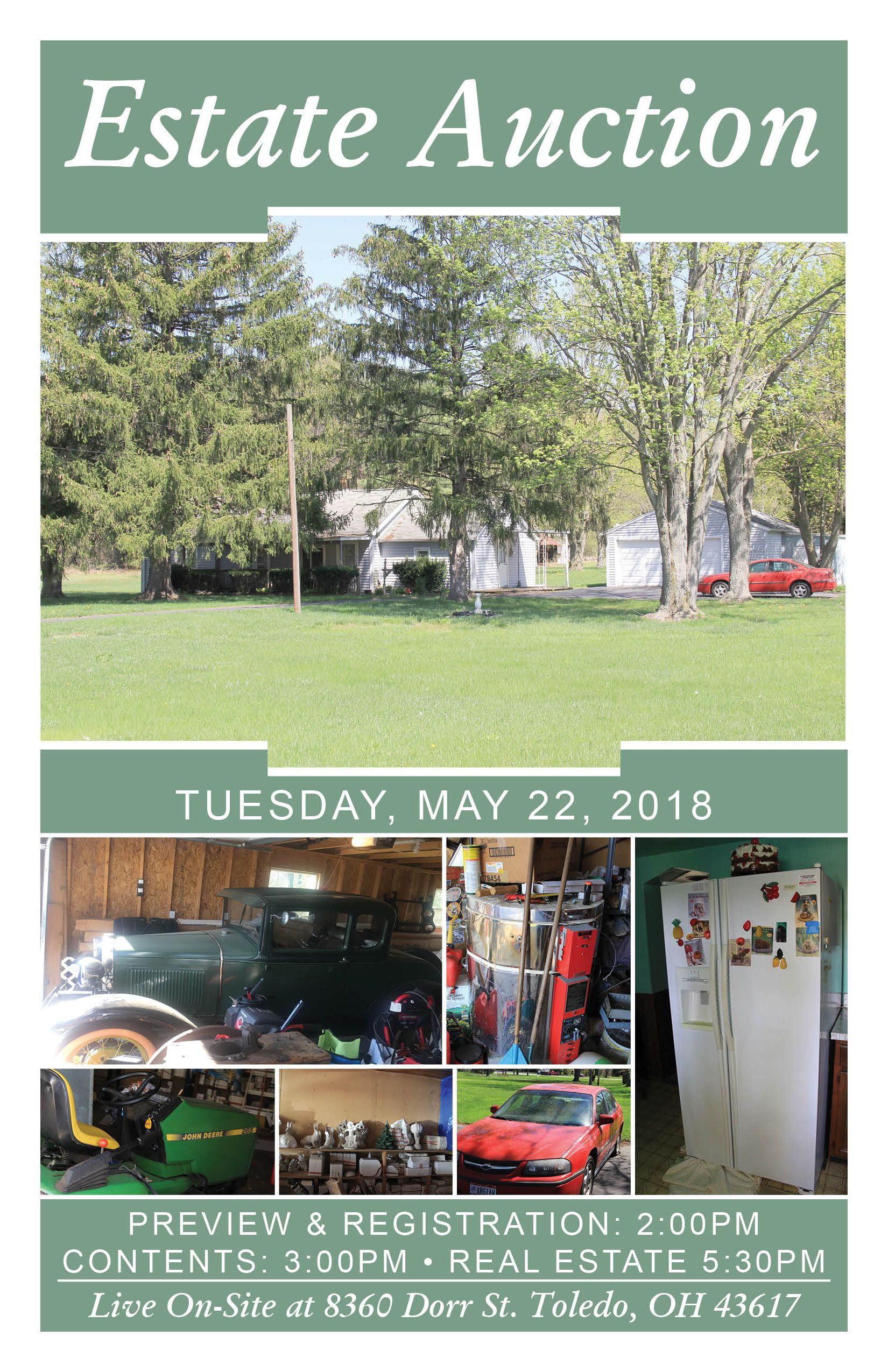 Live OnSite Estate Auction! Tuesday, May 22, 2018