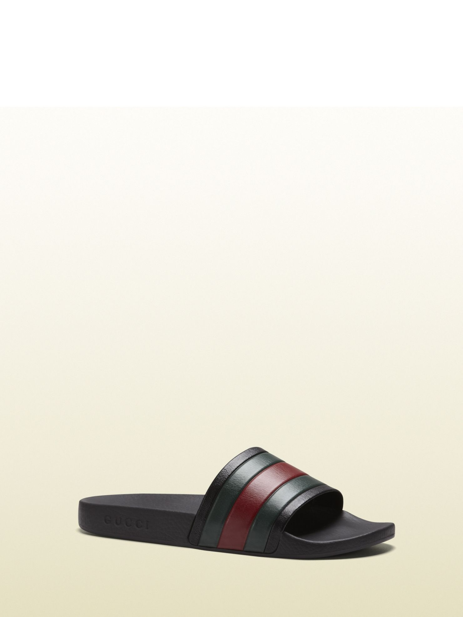 3872430eeb8b Gucci - 308234 GIB10 1098 - black rubber slide sandal - black rubber sole  with signature web rubber strap  Made in Italy gucci logo embossed on the  sole