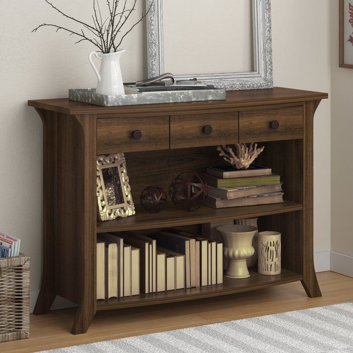 This Stately Console Table Adds Convenient Storage Space And Great Looks To Any Room Dressed In A Rustic Entryway Console Table Console Table Sofa End Tables