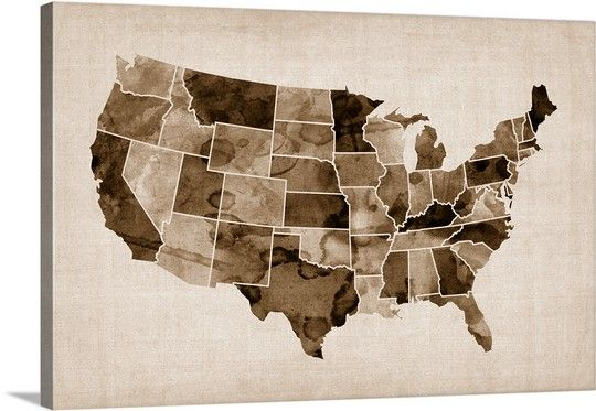 Map of United States of America, watercolor in blue