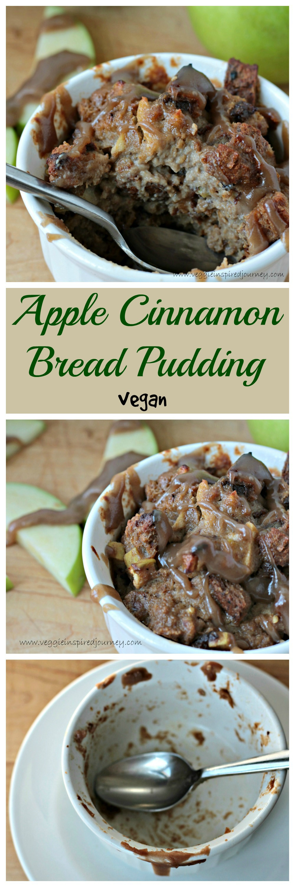Apple Cinnamon Bread Pudding w/ Salted Caramel Sauce - this decadent dairy free dessert is actually healthy! You will lick the bowl clean!!
