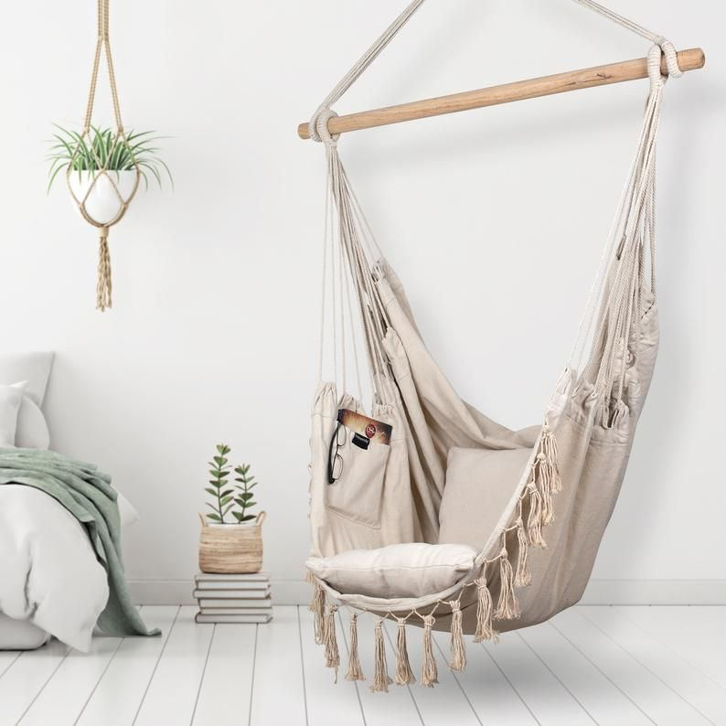 Hammock Chair Cotton Canvas Indoor Outdoor 2 Cushions Etsy In 2020 Hanging Hammock Chair Hammock Chair Hanging Chair