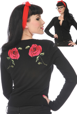 ROSE EMBROIDERED CARDIGAN BLACK