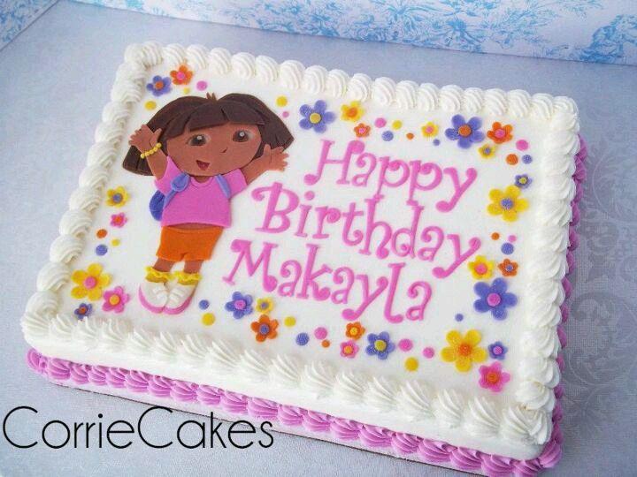 Phenomenal Dora Cake Birthday Sheet Cakes Dora Cake Birthday Cake Kids Birthday Cards Printable Benkemecafe Filternl