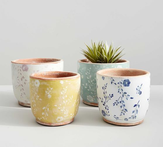 Ceramic Cachepot Collection Floral Painted Terra Cotta Pots Pottery Planters Decorative Pottery